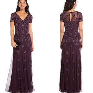 Adrianna Papell floral beaded godet gown dress 18